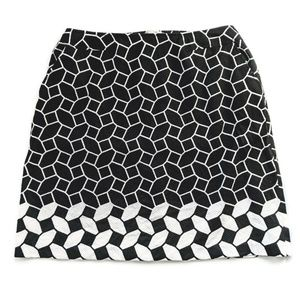 Talbots Black White Geo Print Straight Skirt 20W